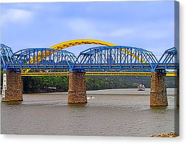 Purple People Bridge And Big Mac Bridge - Ohio River Cincinnati Canvas Print by Christine Till