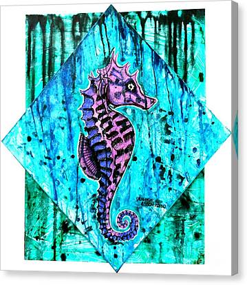 Purple Seahorse Canvas Print by Genevieve Esson