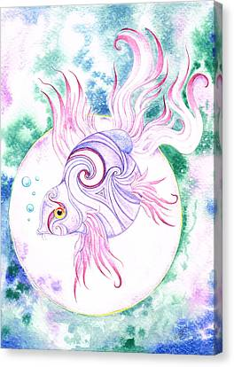 Purple Swirled Fairy Fish Canvas Print by Heather Bradley
