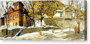 Pushkin Street The First Snow Canvas Print by Jake Hartz