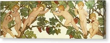 Putti Frolicking In A Vineyard Canvas Print by Phoebe Anna Traquair