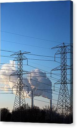 Pylons And Coal-fired Power Station Canvas Print by Jim West