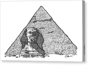 Pyramid And Sphinx Canvas Print by Calvin Durham