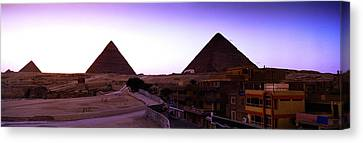 Pyramids At Sunset, Giza, Egypt Canvas Print by Panoramic Images