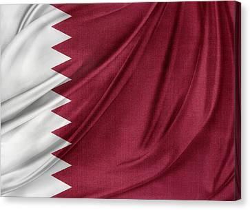 Qatar Flag Canvas Print by Les Cunliffe