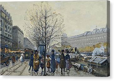 Quai Malaquais Paris Canvas Print by Eugene Galien-Laloue