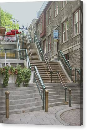 quaint  street scene  photograph THE BREAKNECK STAIRS of QUEBEC CITY   Canvas Print by Ann Powell