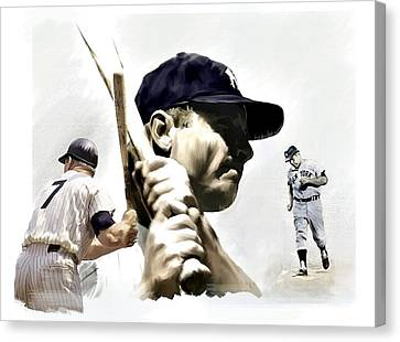 Quality Of Greatness Mickey Mantle Canvas Print by Iconic Images Art Gallery David Pucciarelli