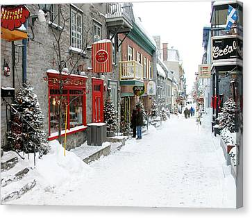 Quebec City In Winter Canvas Print by Thomas R Fletcher