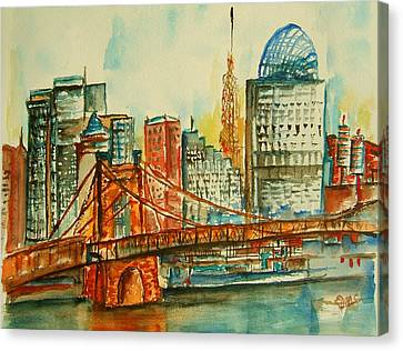 Queen City Skyline Cincinnati Oh Canvas Print by Elaine Duras