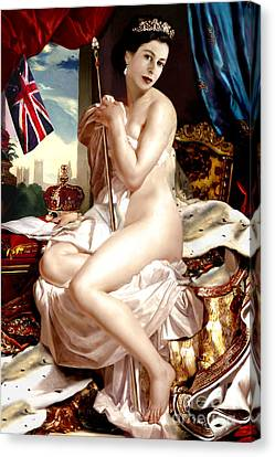 Queen Elizabeth II Nude Portrait Canvas Print by Karine Percheron-Daniels