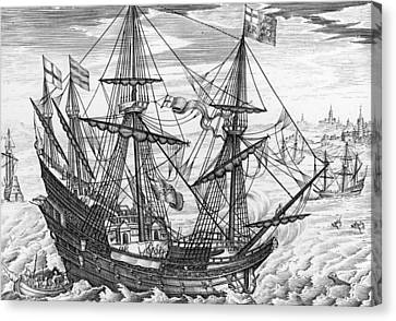 Queen Elizabeth S Galleon Canvas Print by English School