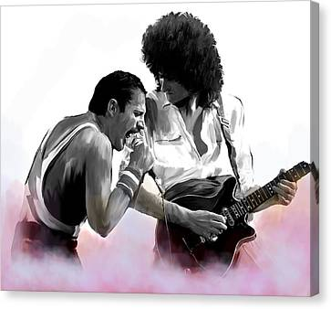 Queen II  Freddie Mercury And Brian May Canvas Print by Iconic Images Art Gallery David Pucciarelli