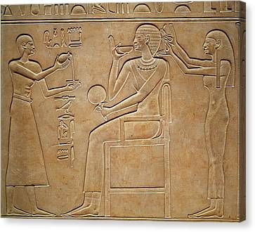 Queen Kawit At Her Toilet, From The Sarcophagus Of Queen Kawit Canvas Print by Egyptian 11th Dynasty
