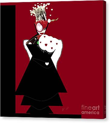 Queen Of Hearts Canvas Print by Ann Calvo