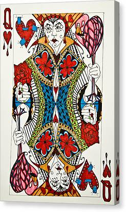 Queen Of Hearts - Wip Canvas Print by Jani Freimann