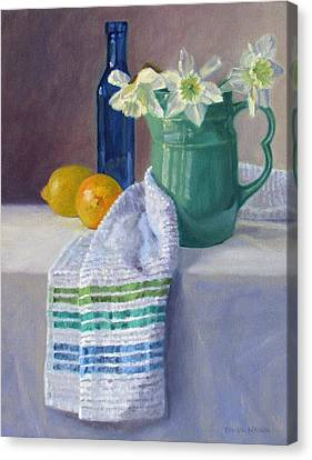 Quiet Moment- Daffodils In A Blue Green Pitcher With Lemons Canvas Print by Bonnie Mason