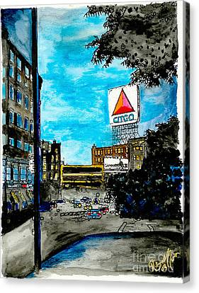 Quiet Night Outside Of Fenway Canvas Print by Rob Monte