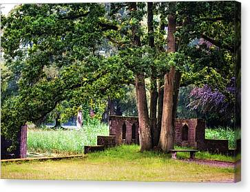 Quiet Park Corner. De Haar Castle Canvas Print by Jenny Rainbow