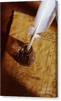 Quill In Ink Pot On Parchment Canvas Print by Jill Battaglia
