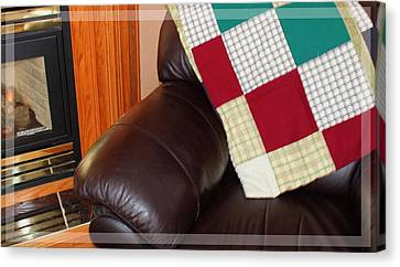 Quilt Beside A Fireplace Canvas Print by Barbara Griffin