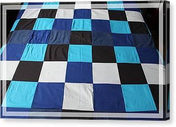 Quilt Blue Blocks Canvas Print by Barbara Griffin