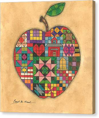 Quilted Apple Canvas Print by Carol Neal