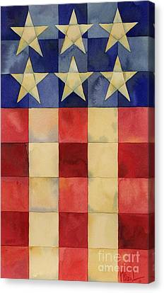 Quilted Flag Vertical Canvas Print by Paul Brent