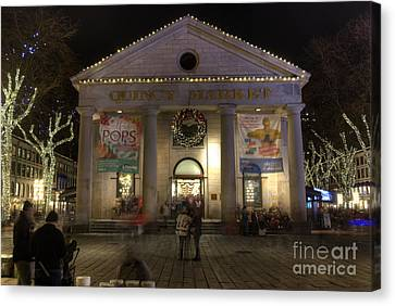 Quincy Market At Night Canvas Print by Juli Scalzi