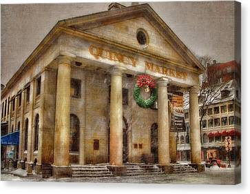 Quincy Market Snow 2 Canvas Print by Joann Vitali