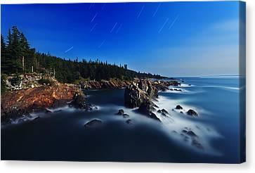 Quoddy Coast By Moonlight Canvas Print by ABeautifulSky Photography