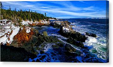 Quoddy Coast With Snow Canvas Print by ABeautifulSky Photography