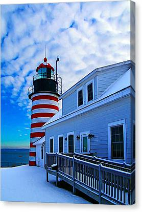 Quoddy Head Lighthouse In Winter 2 Canvas Print by Bill Caldwell -        ABeautifulSky Photography