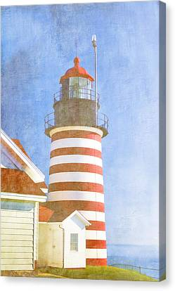 Down East Canvas Print featuring the photograph Quoddy Lighthouse Lubec Maine by Carol Leigh