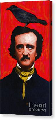 Quoth The Raven Nevermore - Edgar Allan Poe - Painterly Canvas Print by Wingsdomain Art and Photography