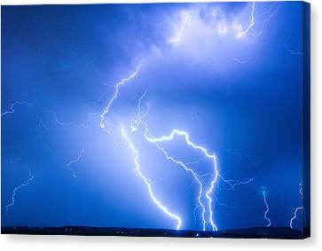 Rabbit Mountain Area Lightning Strikes Boulder County Canvas Print by James BO  Insogna