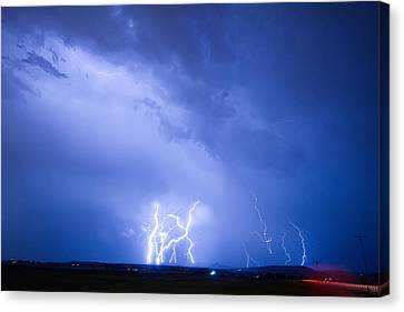 Rabbit Mountain Lightning Strikes Boulder County Co Canvas Print by James BO  Insogna