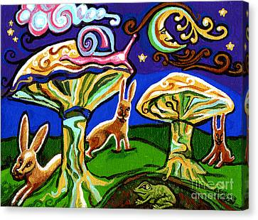 Rabbits At Night Canvas Print by Genevieve Esson