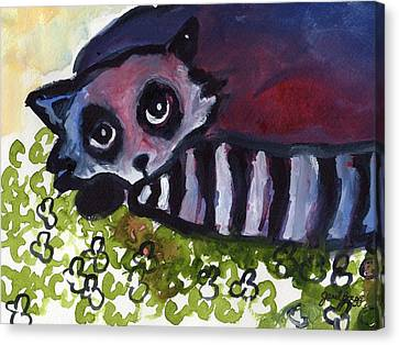 Raccoon In Clover Patch Canvas Print by Janel Bragg