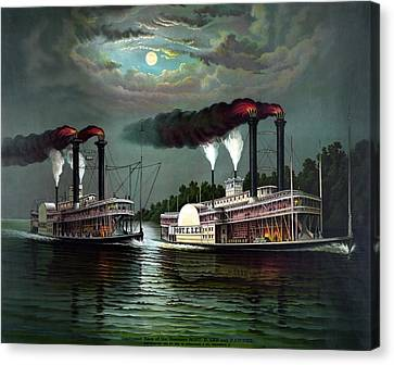 Race Of The Steamers Robert E Lee And Natchez Canvas Print by War Is Hell Store