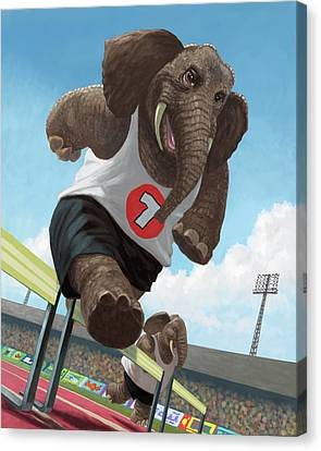 Racing Running Elephants In Athletic Stadium Canvas Print by Martin Davey