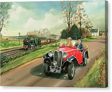 Racing The Train Canvas Print by Richard Wheatland