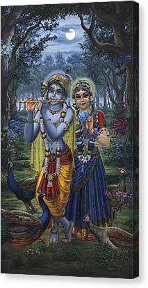 Radha And Krishna On Full Moon Canvas Print by Vrindavan Das