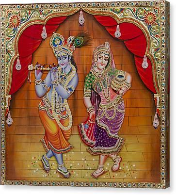 Radha Krishna Dancing Canvas Print by Vijay krishna Maram