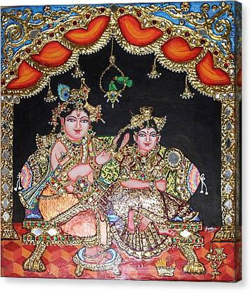 Radha Krishna Canvas Print by Jayashree