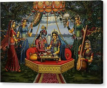 Radha Krishna Taking Meal   Canvas Print by Vrindavan Das