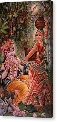 Radha Krishna Vrindawan Canvas Print by Mayur Sharma