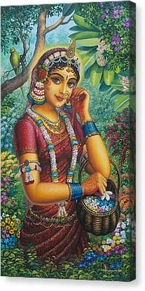 Radharani In Garden Canvas Print by Vrindavan Das