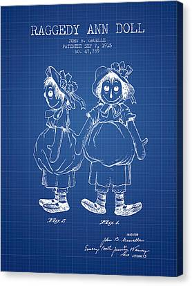 Raggedy Ann Doll Patent From 1915 - Blueprint Canvas Print by Aged Pixel