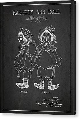 Raggedy Ann Doll Patent From 1915 - Charcoal Canvas Print by Aged Pixel